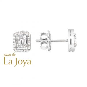diamond baguette and round diamond earrings 0,24 carat bga0003-5