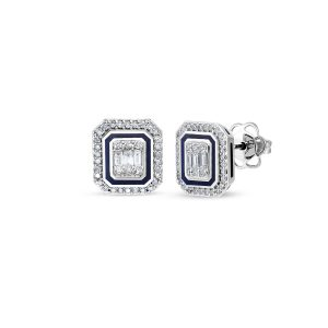 diamond baguette and round diamond enamel earrings 0,45 carat btk0159-1
