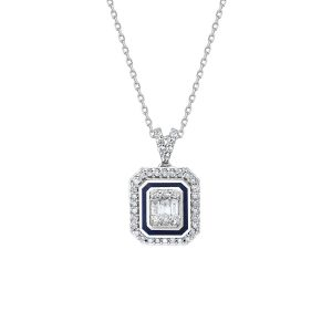 diamond baguette and round diamond enamel necklace 0,31 carat btk0162-1