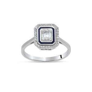 diamond baguette and round diamond enamel ring 0,19 carat btk0158-2