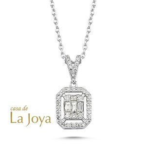 diamond baguette and round diamond necklace 0,23 carat-bgb0002-2