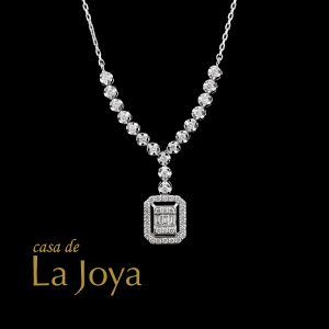diamond baguette and round diamond necklace 0,57 carat btk0258-2